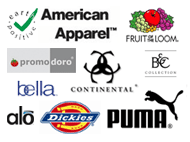 Nos marques : American Apparel, Earth Positive, B&C, Continental, Fruit of the Loom, Bella, Dickies, Puma, Alo, Promodoro